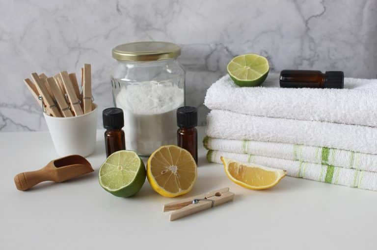laundry white towels natural cleaning products orange baking soda essential oils sustainability dad