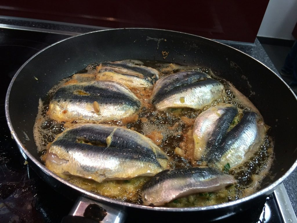 non-stick pan with fish